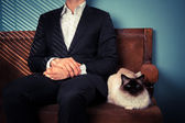 Young man and cat relaxing on sofa — Photo