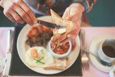 Eating breakfast — Stock Photo