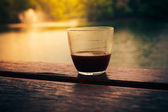 Coffee by the lake — Stock Photo