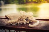 Vintage umbrella by a lake — Stock Photo