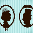 Stock Vector: Man and woman vintage silhouettes