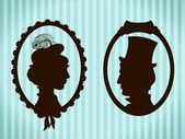 Man and woman vintage silhouettes — Stock Vector