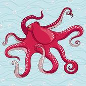 Red octopus — Stock Vector