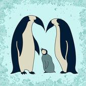 Tučňák rodinné ilustrace — Stock vektor