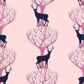 Deer and tree seamless pattern — Stock Vector