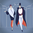 Art deco couple vector illustration — 图库矢量图片