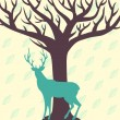Deer and tree vector illustration — Stok Vektör