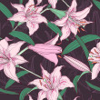 Pink lilies floral seamless pattern — Stock Vector #27525891