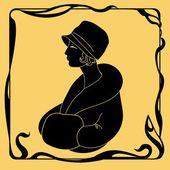 Art deco woman silhouette — Stock Vector