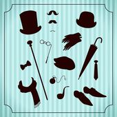 Vintage gentleman costume set — Stock Vector