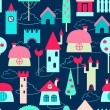 Colored houses seamless pattern — Stok Vektör