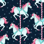 Carousel horses seamless pattern — Stock Vector