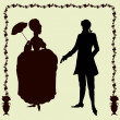 Rococo style historic fashion man and woman silhouettes — Stock Vector