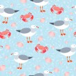 Sea gulls and crabs vector seamless pattern — Stock Vector