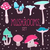 Cartoon style mushrooms set — Stock Vector