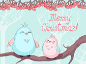 Christmas greeting card with birds on a tree — Vector de stock