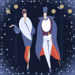 Man and woman in Art deco costumes against winter cityscape background — Stock Vector