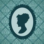 Woman silhouette portrait against vintage wallpapers background — Vetor de Stock