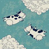 Two cows flying in the sky — Stock Vector