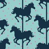 Carousel horses silhouettes — Stock Vector