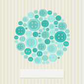 Colorful greeting card with buttons — Stock Vector
