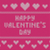 Knitted Valentine's Day greeting card — Stock Vector