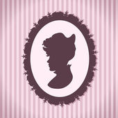 Vintage style woman silhouette — Stock Vector