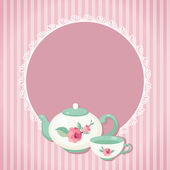 Tea pot and cup illustration — Stock Vector