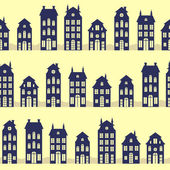 Holland houses silhouettes — Stockvector