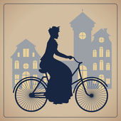 Woman riding bicycle in the city. — Stock Vector