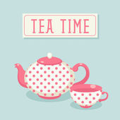 Polka-dot tea pot and cup. — Stock Vector