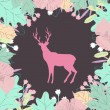 Deer silhouette in floral frame. Colorful vector illustration — Stock Vector