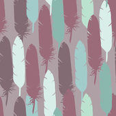 Retro seamless pattern with feathers — Stock Vector