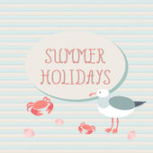 Summer holidays. Summer background with gulls and crabs — Stock Vector