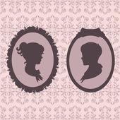 Children portraits against vintage wallpaper background — Vecteur