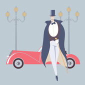 Art deco style man and retro car — Stock Vector