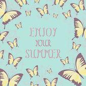 Enjoy your summer,illustration with butterflies — Stockvektor