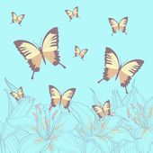 Colorful butterflies and lilies — Stock Vector