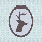 Deer silhouette in frame — Stockvector