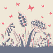 Floral background with butterflies — Stock Vector