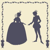 Prince and princess vector silhouettes — 图库矢量图片
