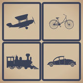 Vintage transportation set — Stockvektor