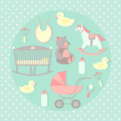 Baby care set. — Stock Vector
