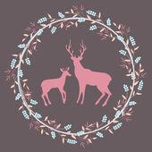 Deer silhouette in floral wreath. — Stock Vector