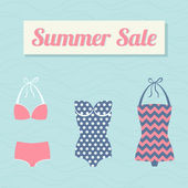 Summer sale with swimsuits — Stock Vector