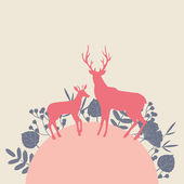 Two deers in forest landscape. — Stock Vector