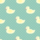 Baby's seamless pattern with ducks — Stock Vector
