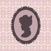 Silhouette femme style vintage — Vecteur