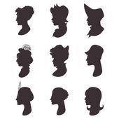 Silhuetas de retrato de perfil de mulheres — Vetor de Stock