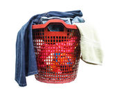 The clothes are not washed in red plastic basket — Stock Photo